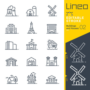Lineo Editable Stroke - Buildings and Houses outline icons