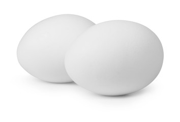Two white eggs isolated on white background.Entire image in sharpness.