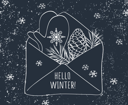 Hello winter letter. Cute postcard with hand drawn mittens,  pine branches and cones. Vector illustration.