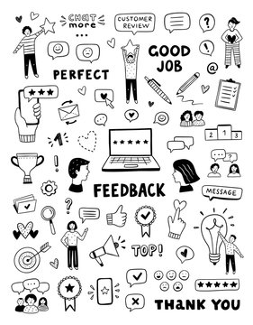Feedback vector icons and symbols. Hand drawn customer care service concept. Cute doodles for business, review and advices