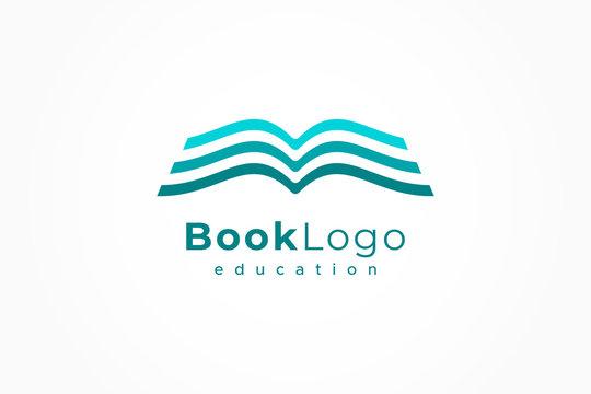 Open Book Logo Education Flat Vector Design