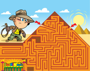 In the vector illustration, a maze puzzle where the boy needs to get to the tomb of the pharaoh