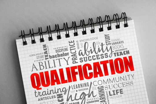 Qualification word cloud, education concept