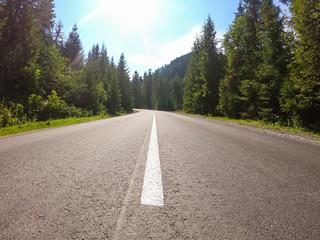 Photo sur Plexiglas Route dans la forêt Carpathian mountains road over the forest