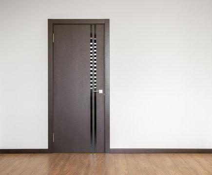 wooden door in empty room copy space photography