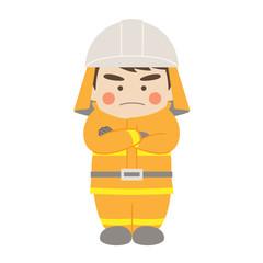 消防士腕組み