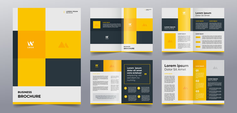 modern yellow brochure pages template