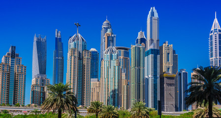 Modern residential architecture of Dubai Marina, UAE