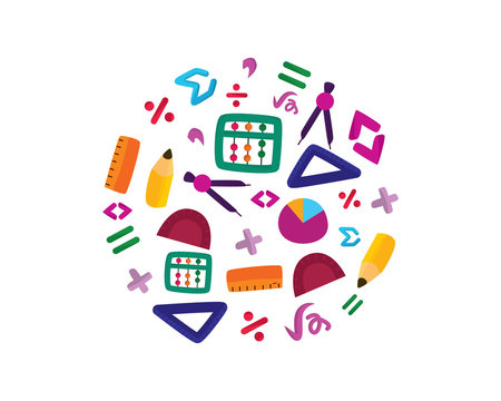 Math Stationery and Math Symbols Illustration