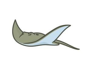Detailed Swimming Ray Fish or Stingray Illustration