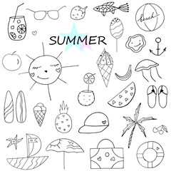 Set of hand drawn summer doodle with sun, palm, sunglasses, cocktails, ice cream. Vector travel illustrations on white background.