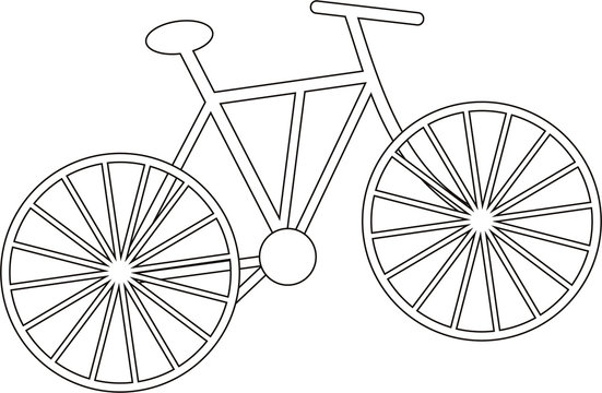 Flat black and white simple bicycle. Object for coloring. Vector.