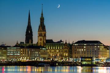 Moonlight city Hamburg Germany