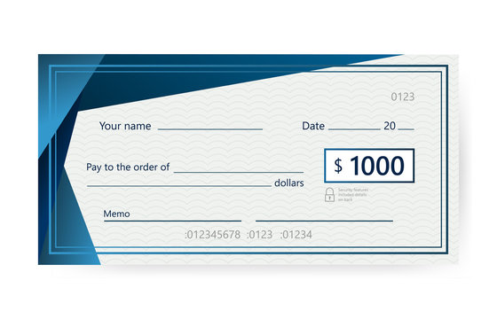 Blank check template. Banking check template. Vector illustration.