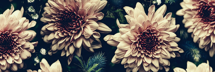 Fotobehang Bloemen Vintage bouquet of beautiful flowers on black. Floral background. Baroque old fashiones style. Natural pattern wallpaper or greeting card