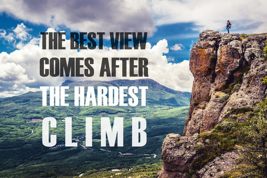Inspirational motivational quote on the nature background