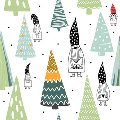 The elegant colorful scandinavian Christmas nordic gnomes and trees seamless pattern for greeting packing