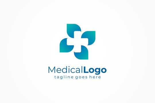 Healthcare Medical Logo. Cross and leaf icon combination. Flat Vector Logo Design Template Element