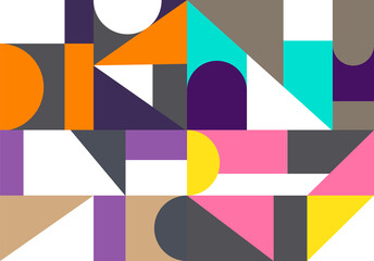 Retro triangle  graphic posters with geometric bauhaus