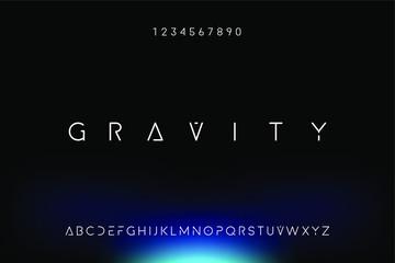Fototapeta Gravity. Abstract technology science alphabet font. digital space typography vector illustration design obraz