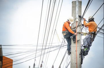 Electricians are climbing on electric poles to install and repair power lines. Wall mural