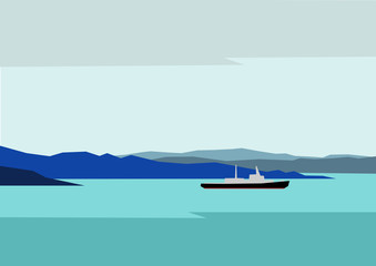 Simple northern landscape - blue hills silhouettes and cold sea with ship (icebreaker). Vector background.