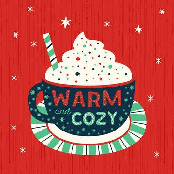 Hot cocoa mug whipped cream flat vector icon
