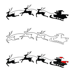 Hand drawing - Santa Claus riding a sleigh with deer. Black silhouette, outlined and partially painted silhouette. Vector illustration.