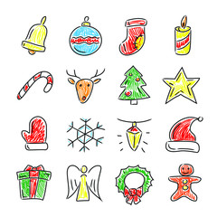 Set of hand drawn icons - Christmas and New Year theme. Bell, gift, Santa's hat, snowflake, sock, candy and over. Painted signs, isolated on white background.