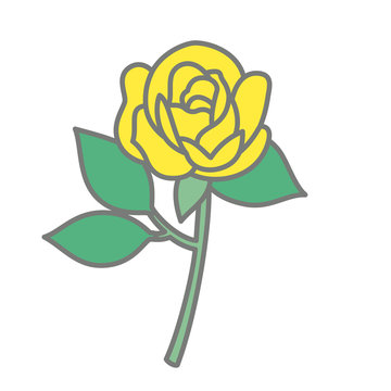 Hand drawn vector graphic illustrations of a yellow rose.
