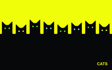 Simple black cats silhouettes with eyes on yellow. Animal geometric background.