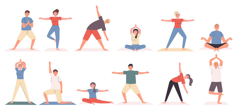 Yoga poses and exercises flat vector illustrations set. Sport and relaxation, healthy lifestyle. Yogi cartoon characters, people in different asanas bundle isolated on white background