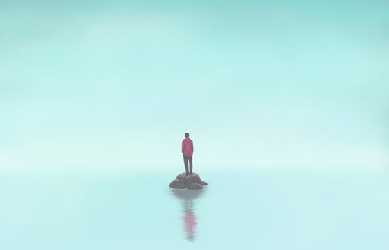 Man alone with the sea, lonely, depression, sad, surreal painting illustration, artwork