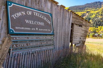 Fototapeta Welcome to Telluride , Colorado Sign obraz