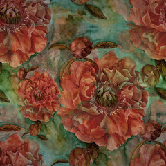 Flowers of peonies on the background of watercolor. Seamless background. Collage of flowers and leaves. Chinese brush drawing on rice paper. Use printed materials, signs, objects, websites, maps. - 306554445