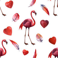 Tuinposter Flamingo Watercolor seamless pattern with flamingo hand drawing decorative background. Print for textile, cloth, wallpaper, scrapbooking