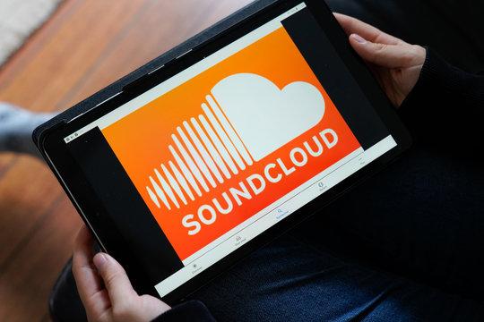 soundcloud logo sign orange screen tablet Music sound cloud streaming app music Internet