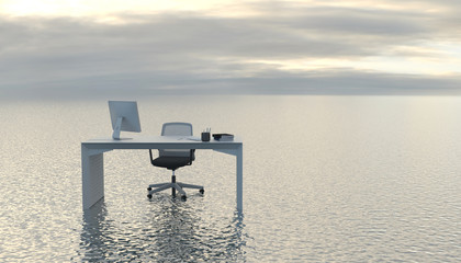 The workplace is on the surface of a calm sea or ocean. Dropshipping or freelance work. Comfortable working conditions. Outdoor office in the open air. Conceptual creative illustration. 3D rendering. Fotomurales