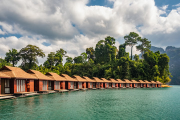Raft houses on Cheow Lan lake in Khao Sok National Park