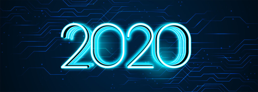 technology style happy new year 2020 banner design