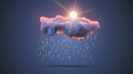 3D Realistic Render of a Cloud with Snowfall