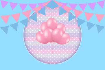 Birthday greeting card with bunting flags and balloons