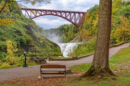 Upper Falls And Genesee Arch Bridge At Letchworth State Park