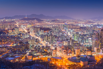 Wall Mural - Seoul, South Korea Cityscape