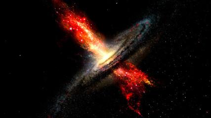 Artist's impression of stars born in winds from supermassive b