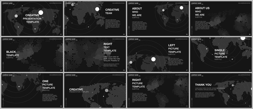 Presentation design vector templates, multipurpose template for presentation slide, flyer, brochure cover design, report presentation. World map concept backgrounds with world map infographic elements