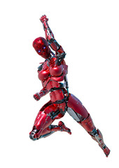 cyborg female comic fighter in a white background
