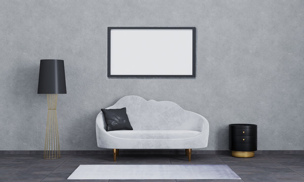 Horizontal blank poster frames for mockup.Modern interior of living room for mockup, luxury, loft. Grey sofa, black and gold lamp and bedside table, white carpet, dark tiling and grey wall. 3d render