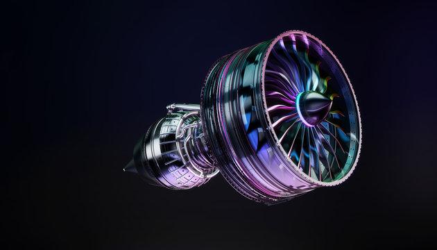 Part of real airplane turbine on dark background, 3d illustration