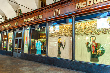 Detail from McDonald restaurant in Turin, Italy. It is an American fast food company, founded in 1940